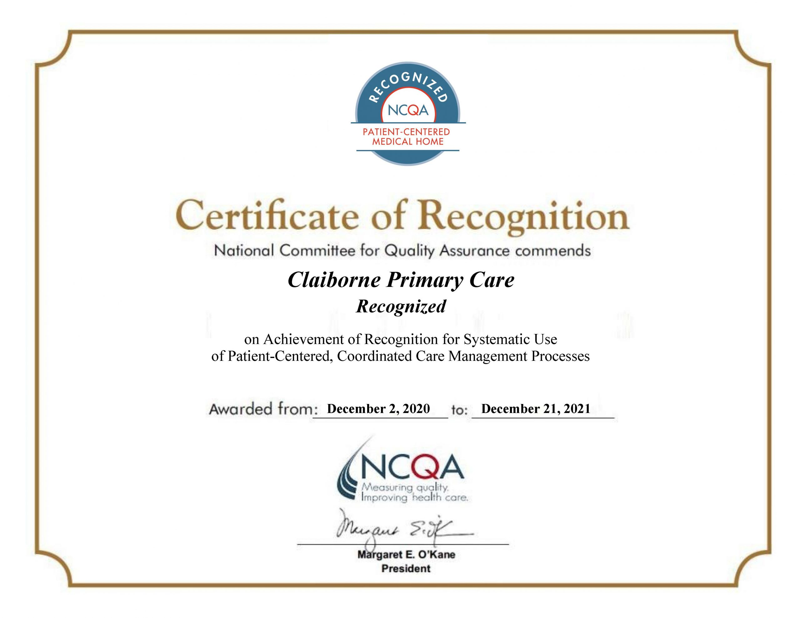 Claiborne Primary Care Recognized as a PCMH